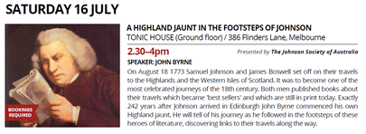 Melbourne Rare Book Week: A Highland Jaunt in the Footsteps of Johnson - Saturday July 16, 2016 at Tonic House