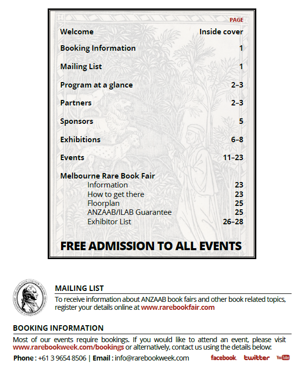 Melbourne Rare Book Week - Booking & Contact Details - Thursday July 14 - Sunday July 24, 2016